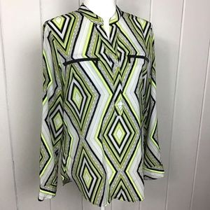 Michael Kors Top, Neon Yellow Black Diamonds - 8